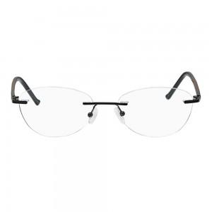 Rimless Metal Rectangle Black Medium Vision Express 49063 Eyeglasses