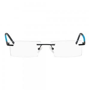 Rimless Metal Rectangle Black Medium Vision Express 29440 Eyeglasses