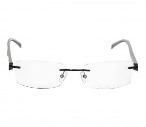 Rimless Metal Rectangle Black Men Medium Vision Express FF48K112 Eyeglasses