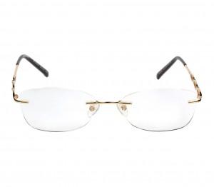 Rimless Metal Rectangle Gold Women Medium Vision Express FF42K187 Eyeglasses