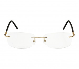 Rimless Metal Rectangle Gold Men Medium Vision Express FF48K125 Eyeglasses