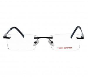 Rimless Metal Rectangle Black Medium Vision Express 29447 Eyeglasses