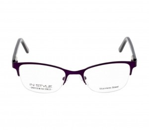 Half Rim Stainless Steel Almond Violet Small In Style ISFT06 Eyeglasses