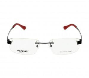 Rimless Monel Rectangle Black Medium Activ ACHM06 Eyeglasses