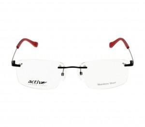 Rimless Monel Rectangle Black Medium Activ ACHM09 Eyeglasses