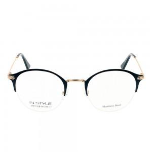 Half Rim Stainless Steel Round Green Medium In Style ISHF22 Eyeglasses