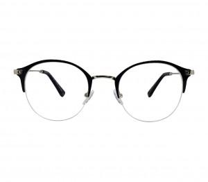 Half Rim Stainless Steel Round Blue Medium In Style ISHF22 Eyeglasses