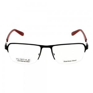 Half Rim Metal Rectangle Black Small In Style ISHM39  Eyeglasses