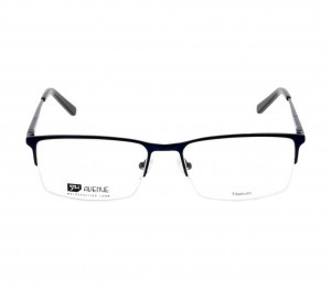 Half Rim Titanium Rectangle Blue Large 5th Avenue FACM41 Eyeglasses