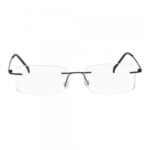 Rimless Metal Rectangle Black Medium Vision Express 29456 Eyeglasses