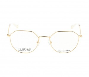 Full Rim Stainless Steel Round Gold Medium In Style ISHM20 Eyeglasses
