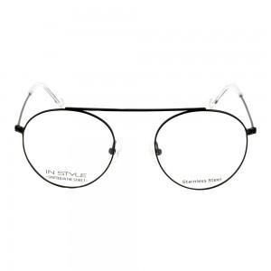 Full Rim Stainless Steel Round Black Men Small In Style ISHM22 Eyeglasses