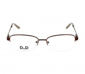 Half Rim Monel Rectangle Brown Medium DbyD DBHF06 Eyeglasses