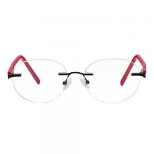 Rimless Metal Rectangle Black Medium Vision Express 49075 Eyeglasses