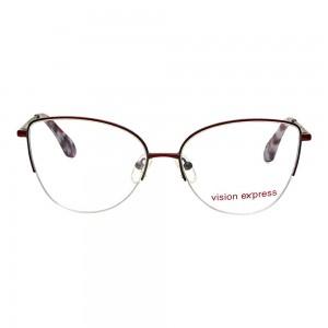 Half Rim Metal Cat Eye Wine Medium Vision Express 49083 Eyeglasses