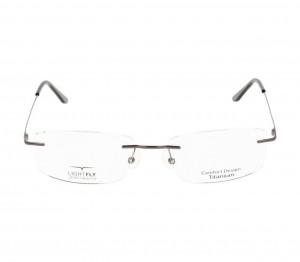 Rimless Titanium Rectangle Grey Medium Light Fly LFJM08 Eyeglasses
