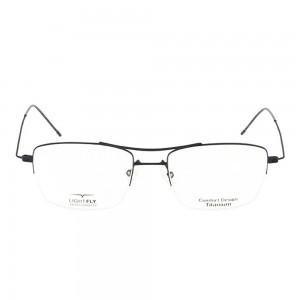 Half Rim Titanium Rectangle Grey Medium Light Fly LFJM38 Eyeglasses