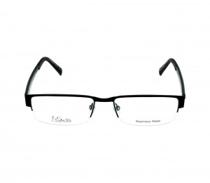 Half Rim Stainless Steel Rectangle Black Medium I-Switch M106 Eyeglasses