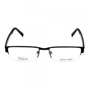 Half Rim Stainless Steel Rectangle Black Medium I-Switch M106 Eyeglasses