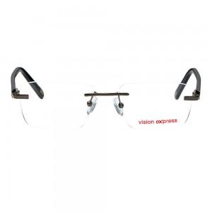 Rimless Metal Rectangle Gun Metal Medium Vision Express 29477 Eyeglasses