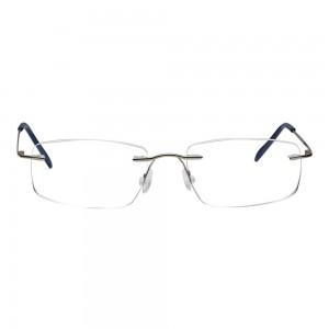 Rimless Metal Rectangle Silver Medium Vision Express 29478 Eyeglasses
