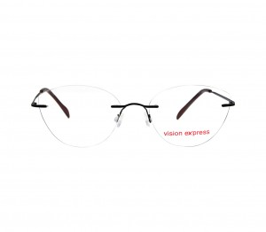 Rimless Metal Cat Eye Black Medium Vision Express 49084 Eyeglasses