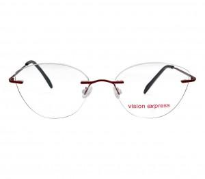 Rimless Metal Cat Eye Wine Medium Vision Express 49084 Eyeglasses
