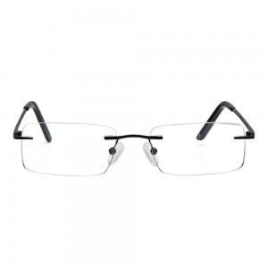 Rimless Metal Rectangle Black Medium Vision Express 12047 Eyeglasses