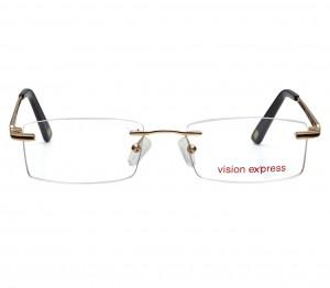 Rimless Metal Rectangle Gold Medium Vision Express 12049 Eyeglasses