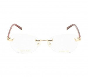 Rimless Stainless Steel Rectangle Gold Medium Heritage HEJF41 Eyeglasses