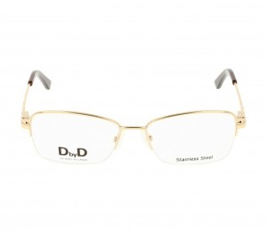 Half Rim Stainless Steel Rectangle Gold Medium DbyD DBJF06 Eyeglasses