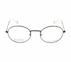 Full Rim Stainless Steel Oval Black Medium In Style ISJM03 Eyeglasses
