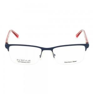 Half Rim Stainless Steel Rectangle Blue Medium In Style ISJM17 Eyeglasses