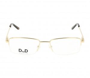 Half Rim Monel Rectangle Gold Medium DbyD DBJM06 Eyeglasses
