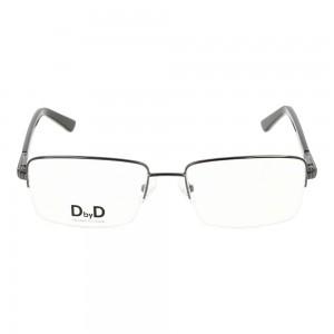 Half Rim Monel Rectangle Grey Large DbyD DBJM07 Eyeglasses
