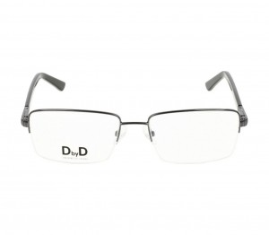 Half Rim Monel Rectangle Grey Large DbyD DBJM07 Eyeglasses