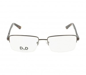 Half Rim Monel Rectangle Brown Large DbyD DBJM07 Eyeglasses