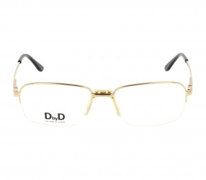 Half Rim Monel Rectangle Gold Large DbyD DBAM13 Eyeglasses