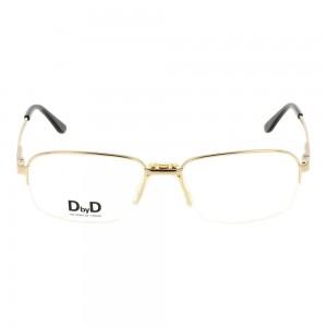 Half Rim Monel Rectangle Gold Large DbyD DBAM13 Eyeglasses