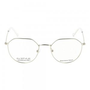 Full Rim Stainless Steel Round Silver Men Small In Style ISHM20 Eyeglasses