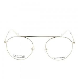 Full Rim Stainless Steel Round Silver Medium In Style ISHM22 Eyeglasses