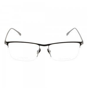 Half Rim Stainless Steel Rectangle Black Large Julius JUHM26 Eyeglasses
