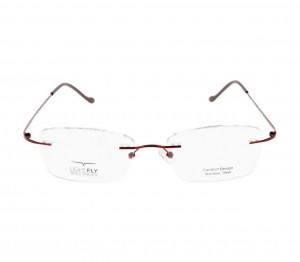 Rimless Stainless Steel Rectangle Wine Medium Light Fly LFBF61 Eyeglasses