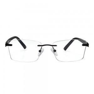 Rimless Metal Rectangle Black Medium Vision Express 29483 Eyeglasses