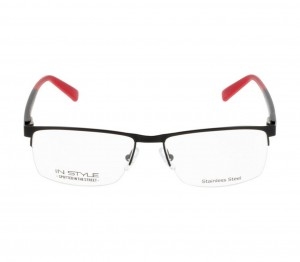 Half Rim Stainless Steel Rectangle Black Medium In Style ISFM21 Eyeglasses