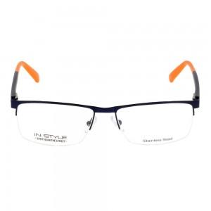 Half Rim Stainless Steel Rectangle Blue Medium In Style ISFM21 Eyeglasses