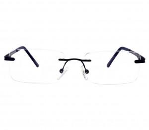 Rimless Metal Rectangle Black Medium Vision Express 12063 Eyeglasses
