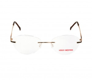Rimless Metal Oval Gold Medium Vision Express 49086 Eyeglasses