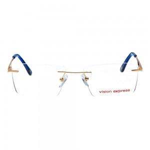 Rimless Metal Rectangle Gold Medium Vision Express 29506 Eyeglasses