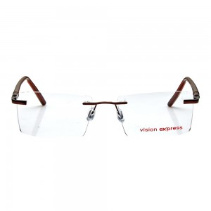 Rimless Metal Rectangle Brown Medium Vision Express 12074 Eyeglasses